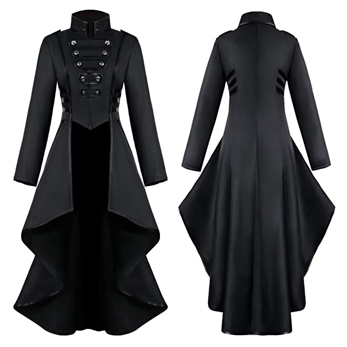 Crubelon Womans Steampunk Vintage Tailcoat Jacket Gothic Victorian Frock Coat Uniform Halloween Costume