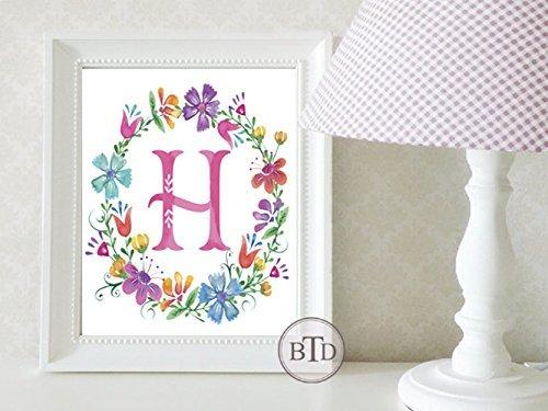 Alphabet Wreath - Boho Alphabet Letter Wreath Woodland Nursery Wall Art Print Baby Girl Room Decor Woodland Nursery art, Nursery decor
