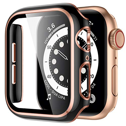GEAK Case Compatible with Apple Watch 38mm 42mm 44mm 40mm Screen Protector, Full Coverage Black Hard PC Bumper Protective Case with Rose Gold Edge for iWatch SE Series 6/5/4/3/2/1 Women Men