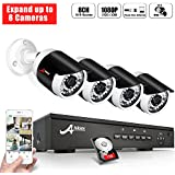 ANRAN PoE Security Camera System 1080p, Expanding 8 Channels POE NVR 1TB Hard Drive w/4 x 2.0 Megapixels PoE Home Surveillance Video Camera System Outdoor IP Network Camera, Night Vision, Free App