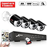 ANRAN 8 Channel 1080P POE Security Camera System with 4 Outdoor Indoor 2.0 Megapixel HD CCTV Surveillance IP Cameras, QR Code Easy Setup, Free Remote View With Pre-installed 1TB Hard Drive Expandable
