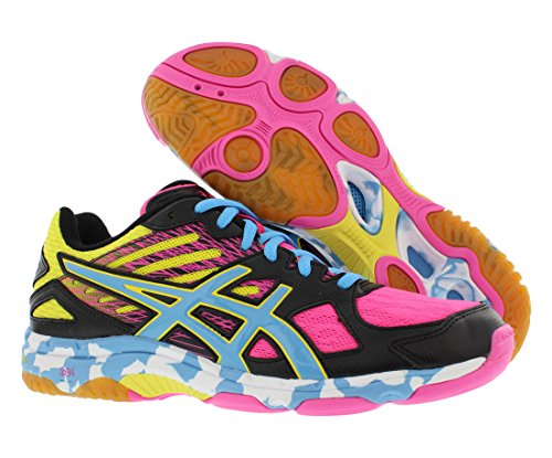 ASICS Women's Gel Flashpoint 2 Volley Ball Shoe,Black/Pool/Hot Pink,11 M US