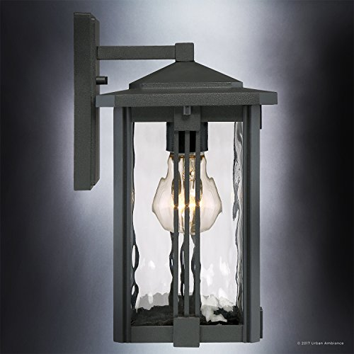 Luxury Craftsman Outdoor Wall Light, Small Size: 12.25''H x 6.5''W, with Mid-Century Modern Style Elements, Vertical Stripes Design, Natural Black Finish and Water Glass, UQL1050 by Urban Ambiance by Urban Ambiance (Image #3)
