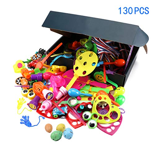 (130 Piece Party Favors Toys for Kids, Treasure Box Prizes for Classroom Rewards, Pinata Filler, Birthday Party,Carnival Prizes,Halloween prizes and)