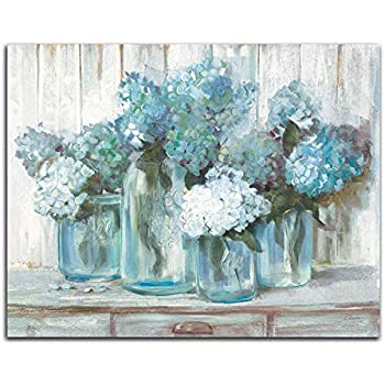 Jar of Blue Hydrangeas Oil Painting Paper Canvas Print Poster Wall Art or
