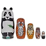 "5.5"" Panda, Tiger, Leopard & Bold Eagle Endangered Animals Wooden Nesting Dolls"