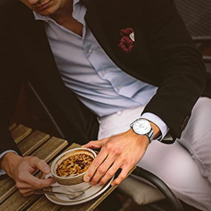 783987fe3e23 MAMONA Reloj para Caballeros con Brazalete de Bucle Milanese Banda de Correa  de Malla Venta de Liquidación G3881WT  Amazon.es  Relojes