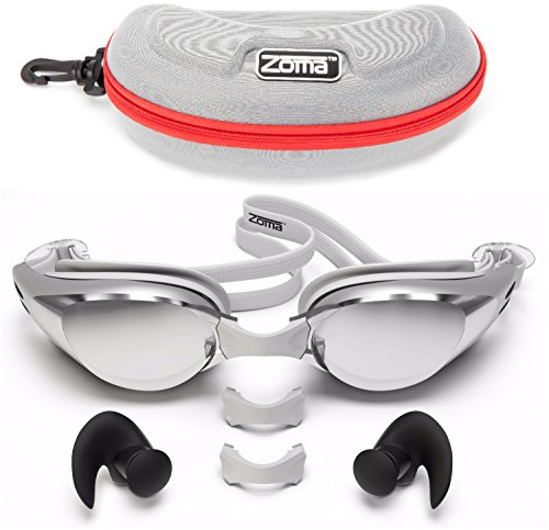 Zoma Swimming Goggles 2.0 with Anti Fog Swim Technology - 3 Piece Adjustable Nose Bridge for Perfect Comfortable Fit for Men, Women and Kids (Silver)