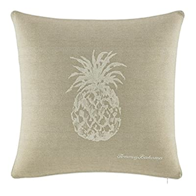 Tommy Bahama Pineapple 20-Inch Decorative Pillow, 20x20 Ivory - Pillow measures 20x20 Pillow has a removable insert Pillow cover is machine washable and has a zipper closure - living-room-soft-furnishings, living-room, decorative-pillows - 51o2IrYsfvL. SS400  -