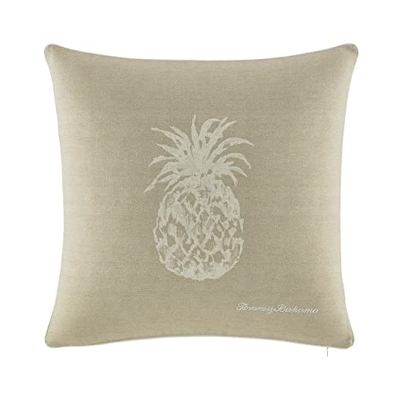 Tommy Bahama Pineapple 20-Inch Decorative Pillow, 20x20, Ivory - Pillow measures 20x20 Pillow has a removable insert Pillow cover is machine washable and has a zipper closure - living-room-soft-furnishings, living-room, decorative-pillows - 51o2IrYsfvL. SS570  -