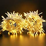 LED Cluster String Lights, 48 Ft 288 LED Cluster Rice Lights, Upgraded Wide Angle Fairy Lights, Christmas Garland Wreath Banister Fireplace Porch Balcony Decor String Light (Silver Wire Warm White)