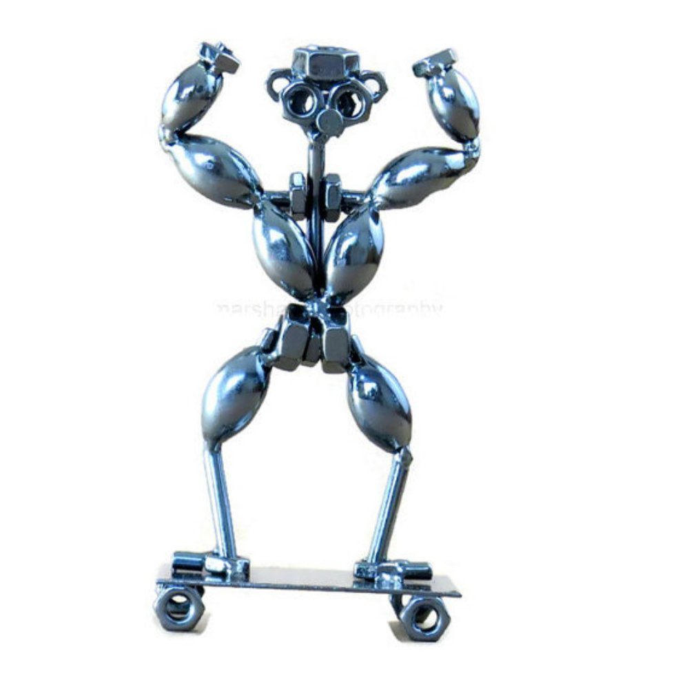 Bodybuilder Gift - Handcrafted 7 Inch Metal Bodybuilding Weightlifting Collectible Statue