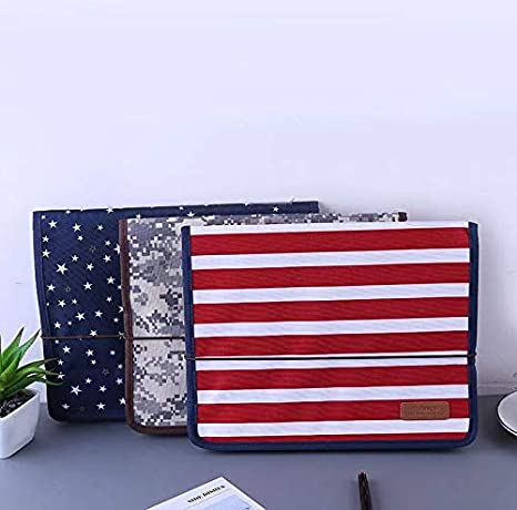 Z-Special Fashion Portable Expandable Accordion 13 Pockets File Folders with Handle A4 Letter Size Expandable Zip File Oxford Expanding Document Briefcase with Transparent Card Slot