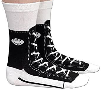 Bits and Pieces - Novelty Socks - Hi-Top Sneaker - Silly Socks - Machine Washable - Cotton-Rich Socks, Fun Great Gift - Black - Adult Size 5.5-11.5
