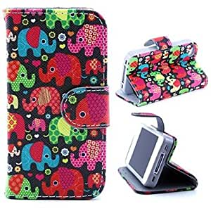 LIMME Color Cartoon Elephant Pattern PU Leather Full Body Case with Stand and Card Slot and Money Holder for iPhone 4/4S