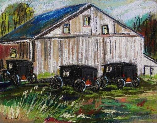 Original Amish Landscape Pastel Painting John Williams Art JMW Impressionism ()