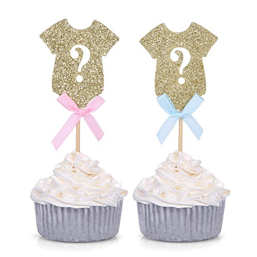 Set of 24 Gender Reveal Party Decors Gold Onesie Question Mark Cupcake Toppers - by Giuffi ()