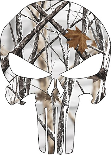Punisher Snow Camo Skull Decal 10 Inches Laminated (Truck Decals Camo)