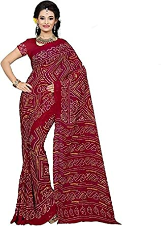 0d2c7a2514 RAJASTHANI RED BANDHANI SAREE MAROON CREPE INDIAN BANDHEJ FANCY TRADITIONAL  SARI: Amazon.in: Clothing & Accessories