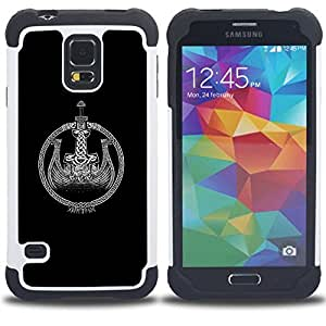GIFT CHOICE / Defensor Cubierta de protección completa Flexible TPU Silicona + Duro PC Estuche protector Cáscara Funda Caso / Combo Case for Samsung Galaxy S5 V SM-G900 // black Viking ship wreath black white //