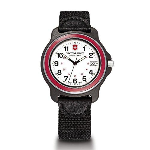 Victorinox Men's 249087 Original XL Analog Display Swiss Quartz Black Watch (White Dial/Red Bezel)