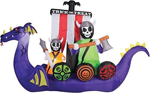 Halloween Viking Ship (Halloween Giant 12' Undead Skeleton Crew Viking Ship Inflatable Yard Prop)