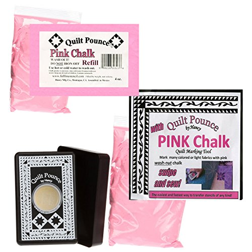 Bundle of: Quilt Pounce Stencil Chalk Transfer Pink Powder Pad; and (1) Pink Stencil Chalk Refills for Quilt Pounce Pad