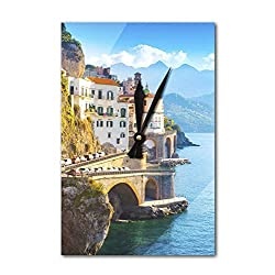 Lantern Press Amalfi Coast, Italy - Cityscape & Blue Ocean A-9010639 (Acrylic Wall Clock)