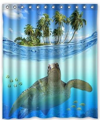 Custom Underwater Sea Turtle Polyester Fabric Bathroom Decor Shower Curtain 60quot