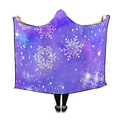 WUTMVING Hooded Blanket Snowflakes Star Christmas Christmas Card Blanket 60x50 Inch Comfotable Hooded Throw Wrap
