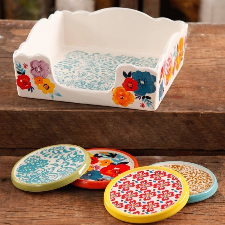 (The Pioneer Woman Flea Market Stoneware Lush Floral Coasters And Napkin Box Set (1))