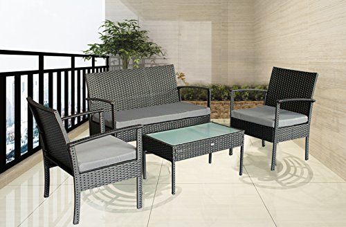Outdoor Chairs Patio Furniture Set Balcony Garden Rattan Small Cheap Furniture Set Grey Cushioned, w/FREE White covers (Tables Cheap Patio)