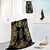 Jiahonghome Ultra Soft Bathroom Towels Set ornate hands with mehndi line art set oriental traditional festive henna tattoos for women 1 Shower Towel 1 Hand Towel and 1 Face Towel