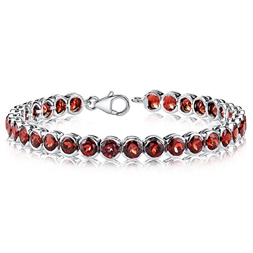 (19.75 Carats Garnet Tennis Bracelet Sterling Silver Rhodium Nickel Finish Bezel Set)