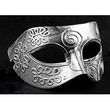 Retro Roman gladiator Halloween party masks Silver Men's Masquerade mask by friendshops by friendshops