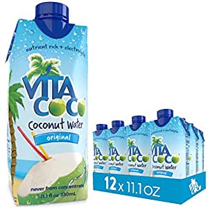 Vita Coco Coconut Water, Pure - Naturally Hydrating Electrolyte Drink - Smart Alternative to Coffee, Soda, and Sports Drinks - Gluten Free - 11.1 Ounce (Pack of 12)