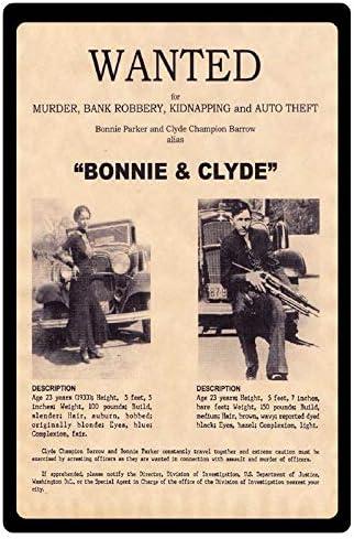 Cartel de Chapa genérica 20 x 30 cm Wanted Bonnie and Clyde Cartel ...