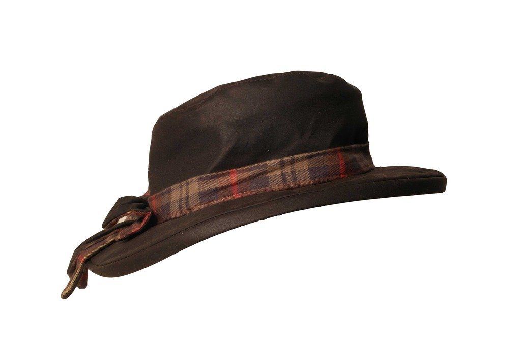 Walker and Hawkes Women's Wax Riding Thelma Bow Knot Hat with Tartan Trim Medium Brown