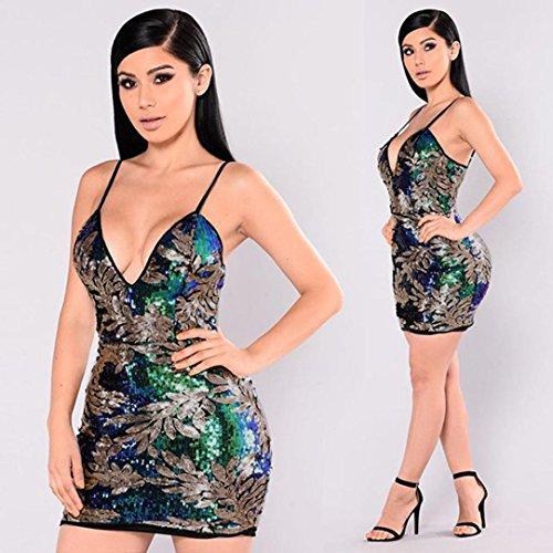 V ❤️verde en para del de cóctel sexy brillante tirantes cuello con Mini ❤️Xinantime vestido vestido de corto Vestido mujer XSpqYwUU