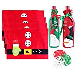 Christmas Placemat with Tableware Holder Bag Table Mats, Wine Cover, Cups Mats, Xmas Decors Food Dinning Placemats, Set of 4 Pcs