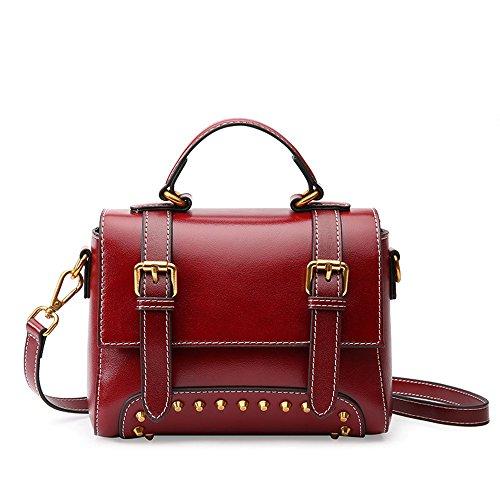 Wine Simple Magnetic Bag Rivet Leisure Messenger Bag Leather Red Shoulder Pumped Square Buckle OOwyZqvxpr