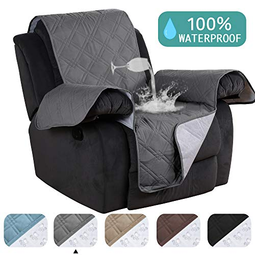 Turquoize 100% Waterproof Pet Furniture Covers for Recliners Chair Covers Dog Sofa Cover Protector Anti Slip Furniture Protector Protect from Dogs/Cats, Spills, Wear and Tear (Recliner,79x 68) Grey
