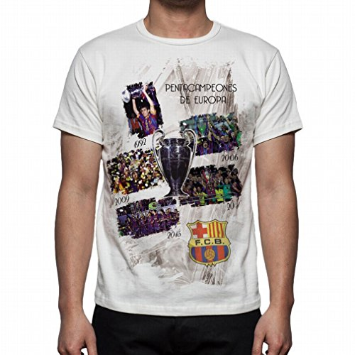 Palalula Men's F.C. Barcelona Champions League 2015 Champion T-Shirt L White