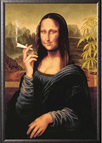 Framed Mona Lisa Smoking Joint 24x36 Poster in Silver finish Wood Frame