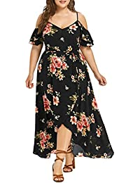 Women Plus Size Casual Short Sleeve Off Shoulder Boho Slit Flowy Maxi Long Dress
