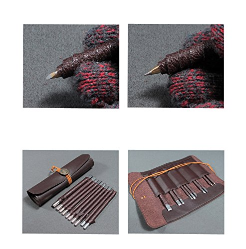 10pcs Wood Chisels Knife Set Stone Wood Carving Tool Kit Made of Tungsten Steel Bonus a Portable Leather Roll Bag CYKD01