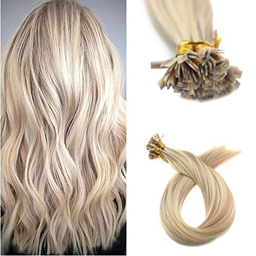Ugeat 20inch Fusion Hair Flat Tip Extensions Piano Color Ash