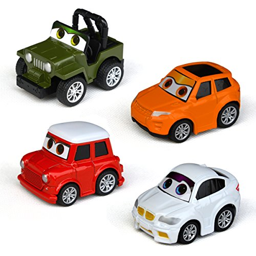 Tianmei Children's Pull Back Mini Cartoon SUV Off-road Vehicle and Jeep Car Styling Alloy Diecast Vehicle Models Collection Set Kids Toys for Boys and Girls (includes 4 cars - SUV)