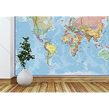 Amazon world map paper wall mural home kitchen giant world megamap mural blue ocean 91 w x 62 h inches gumiabroncs Gallery