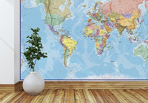 Giant World MegaMap Mural - Blue Ocean - 91 (w) x 62 (h) inches - Map Mural